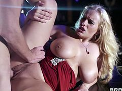 Watch the sexy Angel Wicky dancing on a stripper pole before this busty blonde sucks on this guy's thick cock until she's fucked by this guy.