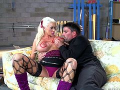 Sexy blonde Summer Brielle, wearing stockings, admires Toni Ribas with her cock-sucking skills. Then they fuck doggy style and in the reverse cowgirl position.