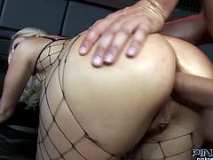 Busty and curvy blond haired Italian bitch gets her asshole drilled hard and sucks the cock at the same time. Have a look at this chick in Pinko HD xxx video.