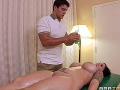 Claire Dames is a sexy bodied milf with big lovely ass and huge boobs. Ramon, fake masseur, does his best to make he take his thick dick. He rubs her bare bottom and then she spreads her legs invitingly!