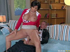 Milf Shay Fox bares her amazing huge boobs and takes her daughters elegant boyfriends hard dick in her hot mouth. He is sex hungry after party but Shay Foxs daughter is blind drunk. So her dirty big tit mom Shay Fox does it instead of her. She is good at cock riding!
