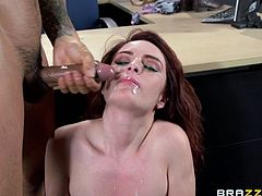 Slutty redhead milf Ashley Graham is playing dirty games with Keni Styles in an office. Ashley gives a blowjob to Keni and they fuck in the cowgirl and other positions.