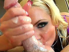 Passionate and so beautiful chicks are playing with big stiff dongs using their magic mouths and hands. They are getting fresh hot cumshots on faces and in mouths.