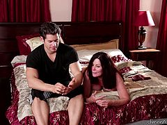 These two guys are about to do some step mom swapping. The guys explain what their moms are like to the camera. One pair of mom and son sits on the bed, and the other is almost completely naked and sitting on the couch. What sort of hot sexy action with they all get into?