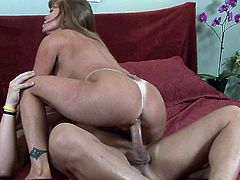 Strong penetration up her shaved twat makes horny milf to scream and wildly shake those fine boobs