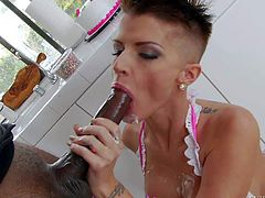 Short haired slut Joslyn James with perfect huge tits loves big black dicks like Sean Michaels one. She gives deep blowjob to lucky dark skinned guy and shows off her dick-rising assets.