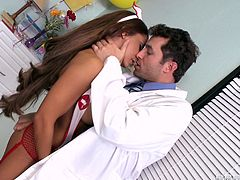 Sexy girl Madison Ivy, wearing fishnet stockings, is getting naughty with James Deen indoors. They have oral sex, then bang in the standing, the cowgirl and other positions.