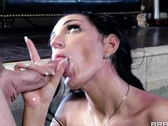 Press play on this hardcore scene and watch Amber Cox sucking and fucking a big fat cock before her mouth's filled by warm semen.