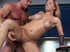 Go wild as you watch this cougar, with a nice ass wearing high heels, while she gets banged hard and moans like a wild MILF. She's a sex machine!