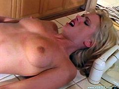 Take a look at this hot scene where the sexy Briana Banks is fucked silly in the kitchen by a guy while out in her patio a party goes on.