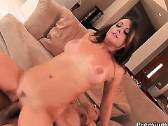 Penny Flame has a great time playing with guys cum loaded dick