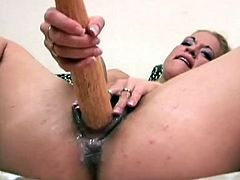 Babe's juicy twat gets fully enlarged in wild and nasty lesbian fisting show which makes her scream