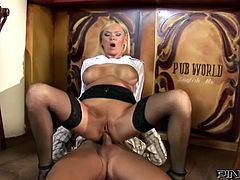 Big boobed blonde mommy hooks up with cocky boy tight over the bar counter. Dude fucks her hungry asshole missionary style before busty slut rides his prick in reverse cowgirl pose.