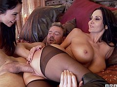 Watch these busty brunettes end up with their big tits covered by semen after this fucks them silly in a hardcore threesome.