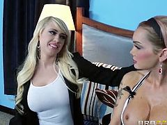 Make sure you don't miss stunning Devon and Kagney Linn Karter having some amazing lesbian fun together. Watch as they are completely naked and lick their pussies.