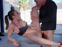 Sexy chick Tiffany Tyler with amazing toned body pulls out of her big firm tits and removes her shorts before sheds her long legs wide and gets her pink pussy used by Tiffany Tyler. He licks and fucks her snatch eagerly!