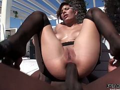 Coco Chamelle is an insatiable white bitch with big booty and juggs. Huge black dick pounds her tight butthole in sideways pose. Later lewd babe in stockings takes that BBC up her cornhole in reverse cowgirl pose.