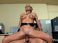 Cock riding sex scene and blowjob by this light haired bitch with awesome boobs. Have a look at this babe in Thagson sex clip.