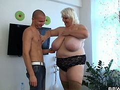 BBW Bet brings you a hell of a free porn video where you can see how a blonde BBW rides a hard rod of meat into heaven while assuming very hot and naughty poses.