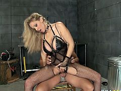 Slutty blond haired bitch with awesome body and in sexy dress gives a head and gets her wet cunt fucked hard riding the cock in cowgirl pose. Have a look at this slut in Brazzers Network sex video.