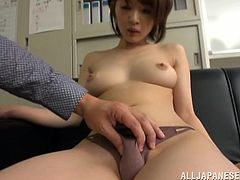 Tight, petite Yukina gets her hairy pussy played with then fucked hard by her lucky boss who works that tight pussy overtime.