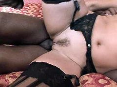 Voracious Caucasian mom with big boobs is fucked bad in interracial porn clip. She gets hammered deep up her snatch in a missionary position.