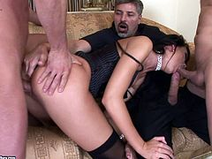 Take a look at this hardcore scene where the slutty Suzie Diamond is nailed by two guys in a threesome where she's even double penetrated.