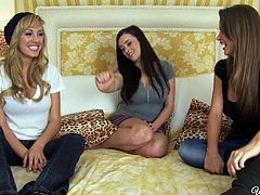 Attractive and slutty babes take off the clothes and tickle their cunts on the bed. Have a look at these three babes in When Girls Play xxx clip.