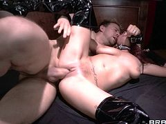 Have a look at this hardcore scene where the busty redhead Ashley Graham masturbates with a vibrator before being fucked silly by a guy.
