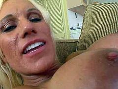 Super hot and sexy mom Ashley Starr is riding big dick on top. She then takes solid pecker in a missionary position. Horny dude rams her snatch mercilessly.