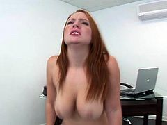 Horny MILF with big natural boobs Rebecca Lane gives head before getting on top of hard shaft. She humps on top of solid pecker intensively.