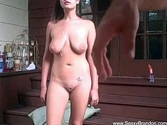 Make sure you don't miss this stunning brunette showing off her huge natural tits and riding on a big schlong. Watch they bounce when she rides his rod like a champ.