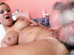 Blonde wench gets pleasure with erect meat pole in her mouth