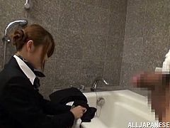 An elegant Japanese girl in stewardess uniform gives a blowjob and a titjob in a hotel. The girl also lifts a skirt up and gets fucked in her hot pussy.