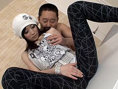 Elegant Asian porn babe with long sexy legs looks pretty in her white beret. Mate helps her to take off her tight black leggings. Dude fondles her ass and her hairy puffy snatch through her panties.