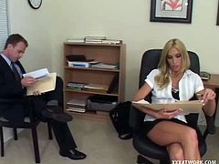 Checkout this blonde well stacked slut, fucking in the office on her table. Dirty secretary slut gets her pussy slammed hard by hot tempered dude. He pokes her right on the table and then she gives deepthroat blowjob till he cums on her huge tits.