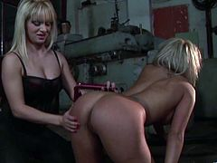 Horny blonde lesbians Adriana Russo and Lea Lexus are getting naughty in a basement. One of the chicks binds the other and drills her snatch with a vibrator.