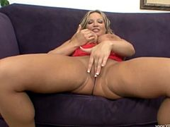 Witness this clip where a blonde cougar, with giant knockers wearing a miniskirt, gets fucked hard in different positions and moans stridently.