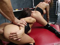 Watch this hardcore scene where these sexy ladies are fucked silly by the same big cock in a threesome that leaves both of them out of breath.