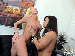Check out horny Nikita Von James involved into some hardcore action with the legendary Lisa Ann. Watch them sucking on their amazing titties and licking their tight pussies to.