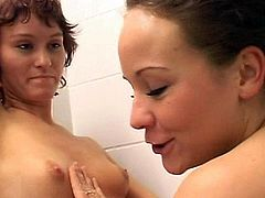 Intense and full of passion lesbian stimulation scenes between two horny sisters in the warm shower