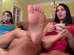 Long and black haired filth stands on knees on sofa. Her torrid brunette kooky set to tickle her kitty from behind with toes. Meanwhile the third blond bitch set to please it in front with toes as well.Enjoy that dirty lesbo threesome in DDF Network sex clip!