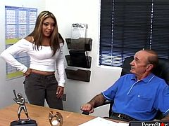 Curvaceous Asian office whore looks sexy in her tight top and jeans. Hot bitch talks with her girlfriends about getting a promotion. She's about to seduce her old ugly boss.