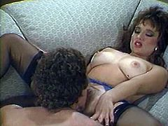 Attractive chick gets her hairy cunt drilled hard doggystyle and missionary on the sofa and gives a head. Have a look at this bitch in The Classic Porn sex clip.