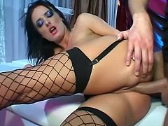 Anal pounding skinny brunette whore in fishnets is one spunk filled encounter. There is no stopping her for letting that cock stretch her holes wildly on cam.