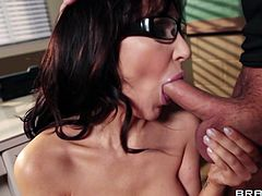 Horny brunette mom Diana Prince, wearing stockings, is getting naughty with Keiran Lee indoors. She gives a blowjob to the guy and they have some naughty upskirt banging on the floor.