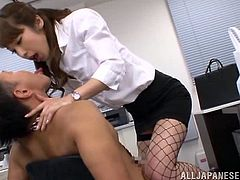 Have fun with this hot scene where the sexy Mira Tamana sucks on of her coworkers in the middle of the office.