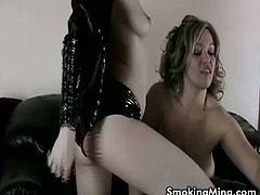 These naughty chicks had their fetishes done on these hot lesbian scene. Wearing latex clothes and smoking while making out. Look how they eat each others pussy.