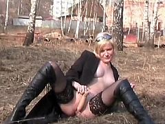 Nothing pleases blonde chick better than a good pussy stimulation scene in outdoor to keep her horny