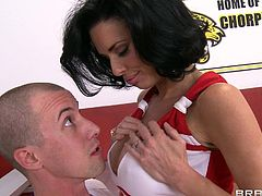 Watch this hardcore scene where the busty cheerleader Veronica Avluv is fucked by a guy with a big cock until he cums in her mouth.